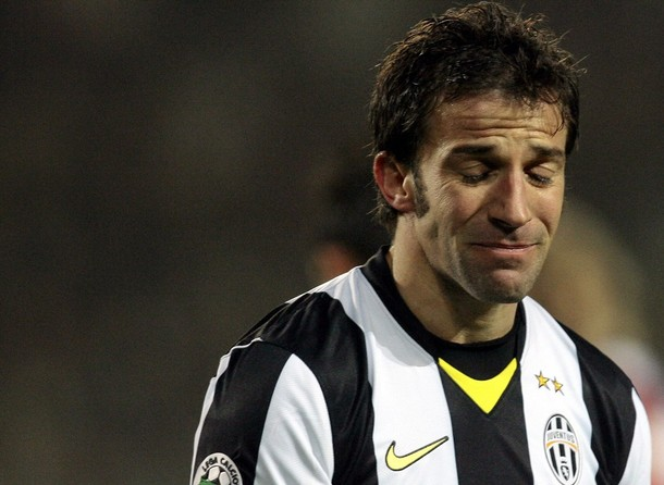 Juventus' Del Piero reacts against Cagliari during their Italian Serie A soccer match in Turin.